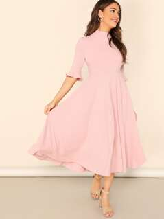 Mock-neck Ribbed Knit Bell Sleeve Solid Dress
