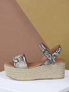 Snake Band Ankle Strap Jute Flatform Sandals