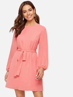 Bishop Sleeve Belted Solid Dress
