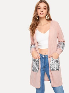 Open Front Sequin Detail Ribbed Duster Coat