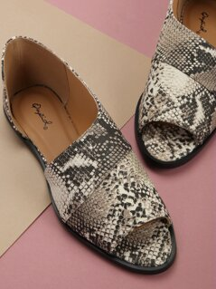 Peep Toe Side Cut Out Snake Slip On Flat Loafers