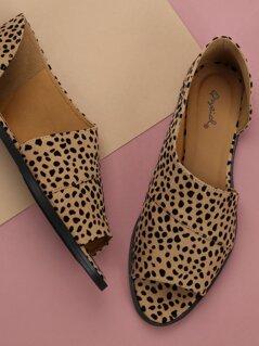 Open Toe Dorsay Style Leopard Slide On Loafers