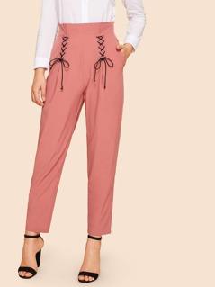 90s Double Lace Up Pocket Side High Waist Peg Pants