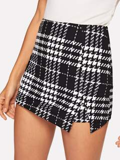 Plaid Split Shorts