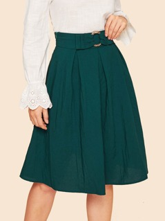 60s Waist O-ring Belted Pleated Skirt
