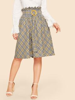 Paper-bag Waist Plaid Flare Skirt