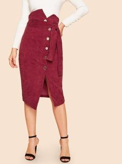 Asymmetrical Waist Single Breasted Belted Split Cord Skirt