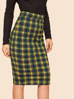 Plaid Split Back Pencil Skirt