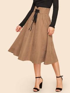 Corset Detail Jersey Skirt