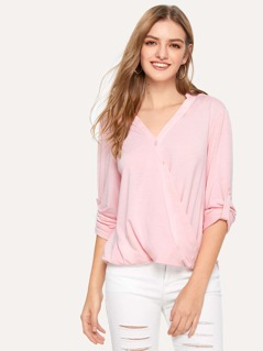 Roll Up Sleeve Buttoned Wrap Front Top