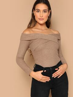 Crisscross Fold Over Bardot Top