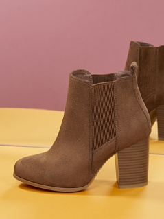 Almond Toe Stacked Heel Chelsea Boots