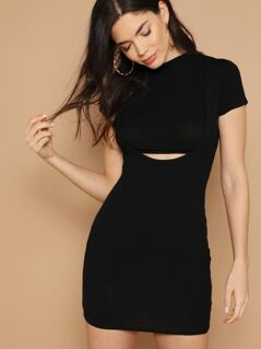 Rib Knit Cap Sleeve Waist Cut Out Mini Dress