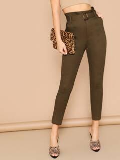 Belted Waist Side Pocket Twill Skinny Pants