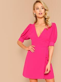 Wrap Front Puff Sleeve V-Neck Mini Dress