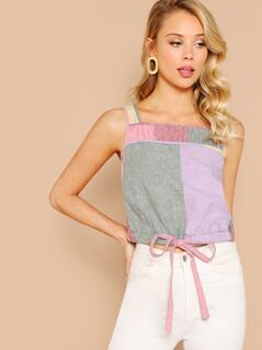 Tie Front Colorblock Sleeveless Top