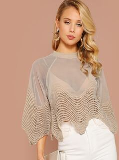 Sheer Mesh And Lace Scalloped Edge Blouse
