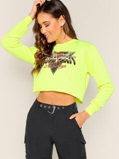 Round Neck Screen Print Raw Hem Cropped Sweatshirt