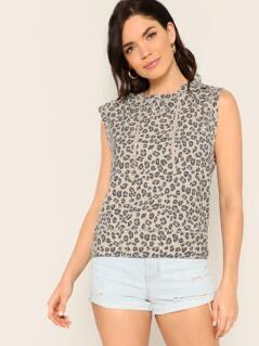 Leopard Drawstring Hood Sleeveless Top