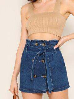 Double Breasted Waist Tie Denim Mini Skirt