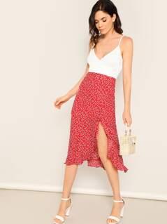 Heart Print Side Slit Back Zip Knee Length Skirt