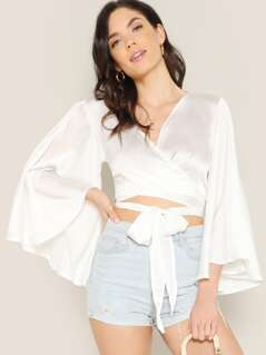 Satin Flared Sleeve V-Neck Wrap Crop Blouse