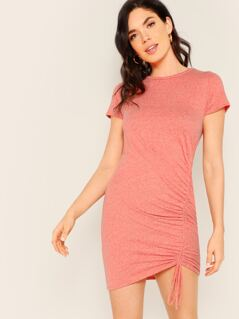 Round Neck Melange Knit Ruched Side T-Shirt Dress