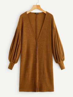 Open Front Bishop Sleeve Solid Longline Coat