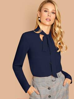 Tie Neck Button Through Blouse