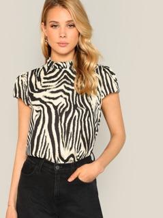 Frill Neck Zebra Print Blouse