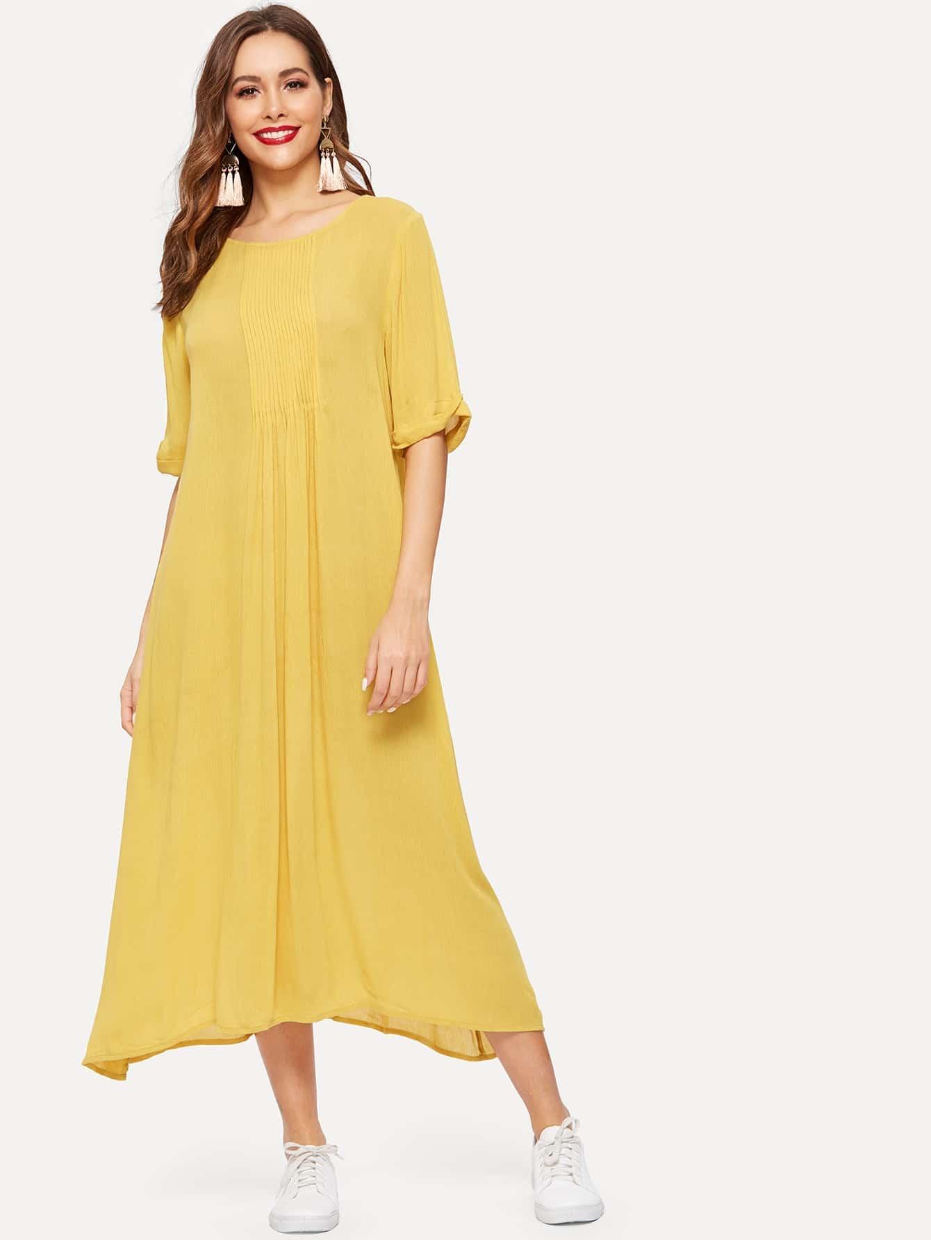 Купить Однотонное платье со складками, Giulia, SheIn
