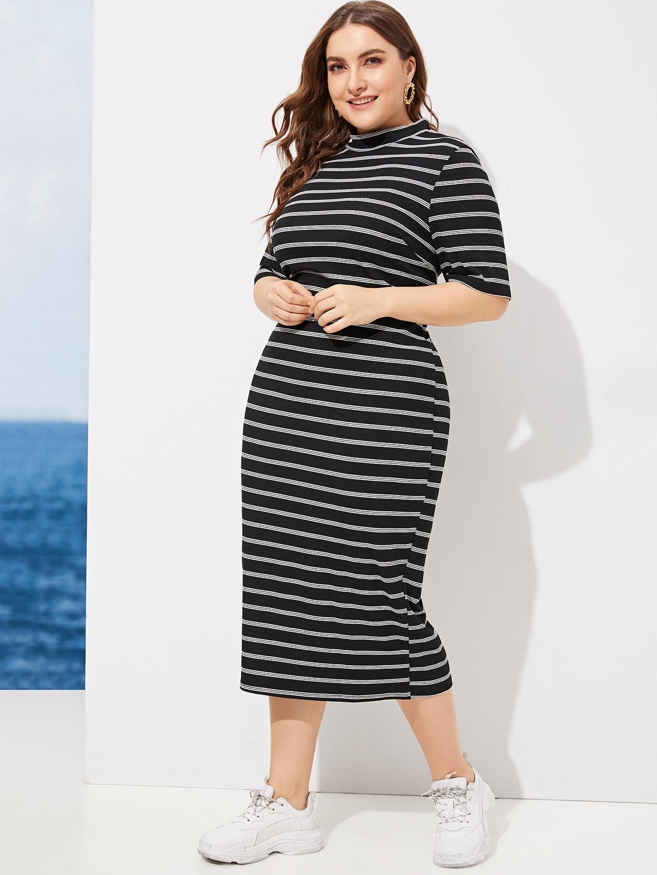 Размер плюс полосатое платье со стоячим воротником