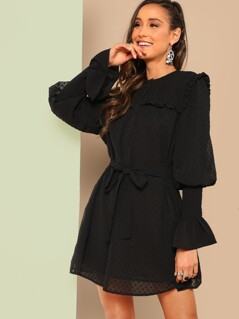 Leg-of-mutton Sleeve Dot Jacquard Dress With Belt