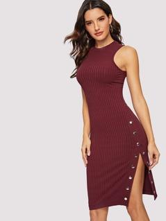 Button Side Ribbed Knit Split Dress