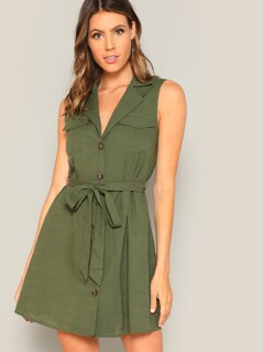 Button Through Self Tie Utility Dress