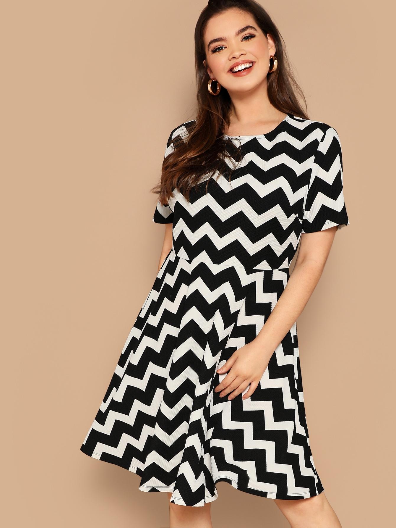 Размер плюс полосатое платье