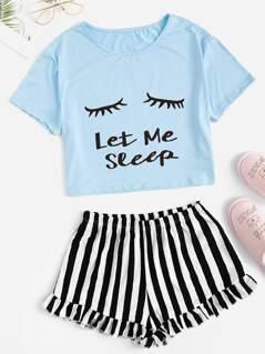 Letter Print Tee & Striped Ruffle Shorts PJ Set