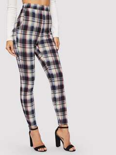 High Waist Slant Pocket Plaid Pants