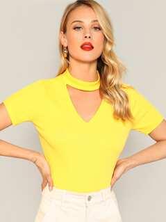 Open Front Neon Yellow Tee