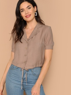 Notch Collar Drawstring Hem Buttoned Blouse