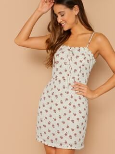 Ditsy Floral Frill Edge Cami Dress