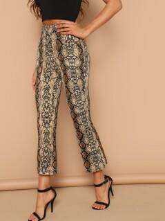 Snake Print Crop Pants