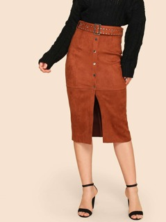 50s Button Up Slit Front Suede Skirt