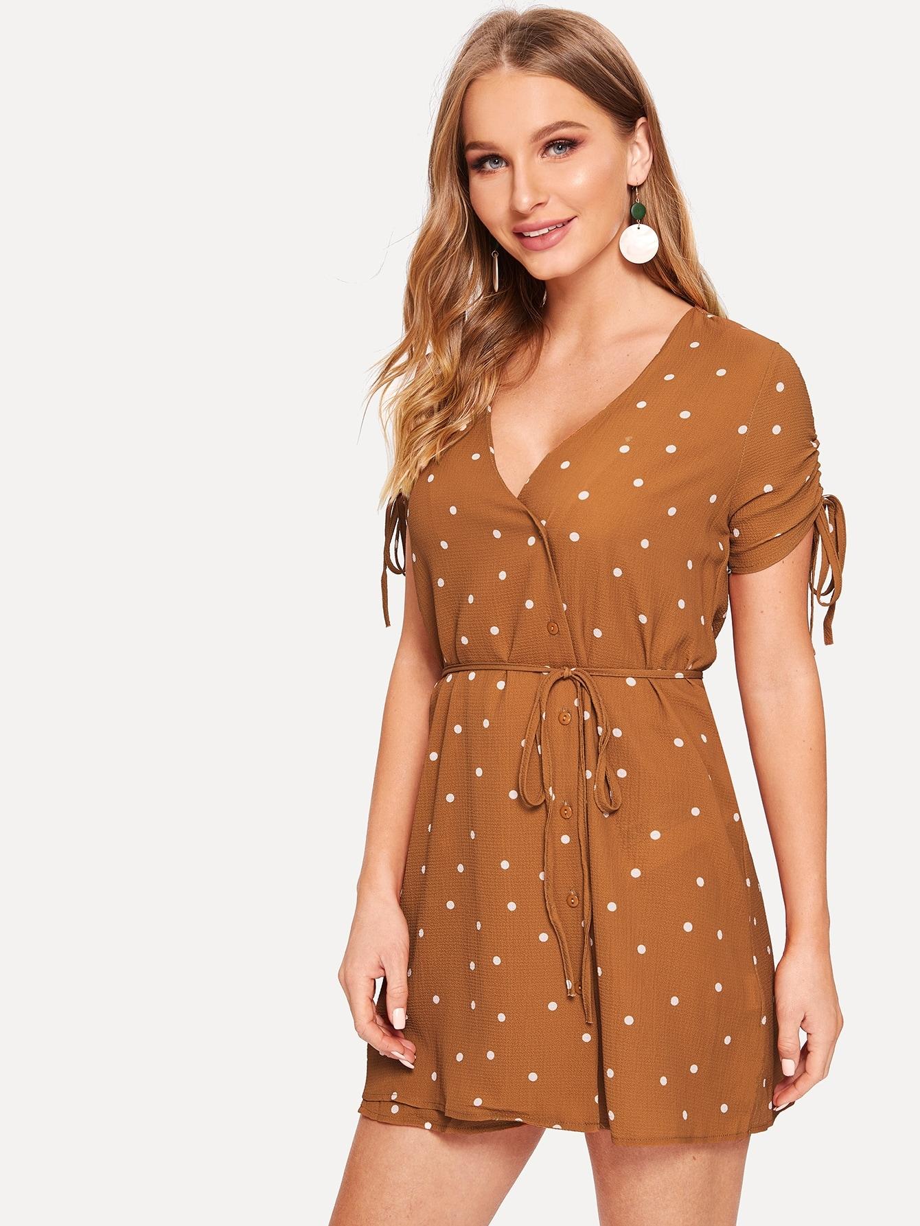 10e08870892 Polka Dot Print Drawstring Sleeve Dress - shein.com - imall.com
