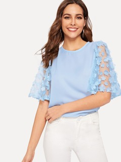 Flower Applique Mesh Sleeve Top