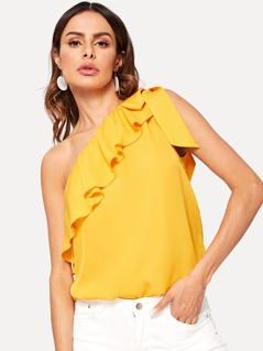 Asymmetrical Flounce Trim Knot One Shoulder Top