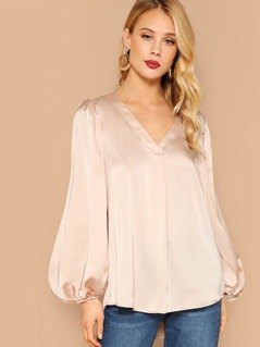 Lantern Sleeve Curved Hem Satin Blouse
