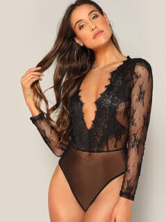 Plunge Neck Floral Lace Bodysuit