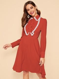 Jabot Collar Lace Trim Button Detail Dress