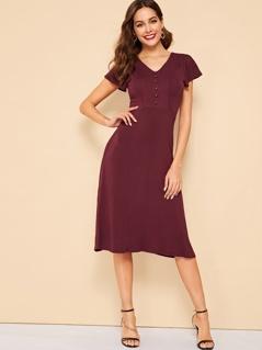 50s V-neck Button Front Jersey Dress